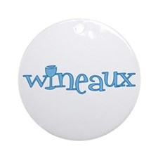 Wineaux gl blue Ornament (Round)