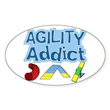 Dog Agility Addict Oval Decal