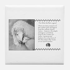 White Buffalo & Calf ~ Tile Coaster
