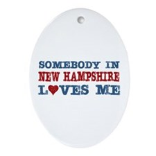 Somebody in New Hampshire Loves Me Oval Ornament