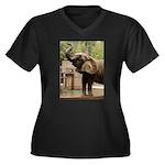 African Elephant 002 Women's Plus Size V-Neck Dark
