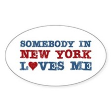 Somebody in New York Loves Me Oval Decal
