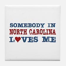 Somebody in North Carolina Loves Me Tile Coaster