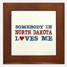 Somebody in North Dakota Loves Me Framed Tile