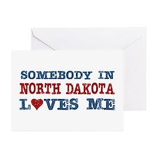 Somebody in North Dakota Loves Me Greeting Cards (