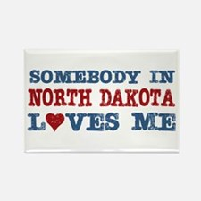 Somebody in North Dakota Loves Me Rectangle Magnet