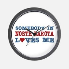 Somebody in North Dakota Loves Me Wall Clock