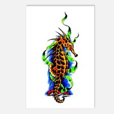 Seahorse Animal Art Tattoo Postcards (Package of 8