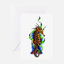 Seahorse Animal Art Tattoo Greeting Cards (Pk of 1