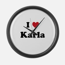 I love Karla Large Wall Clock