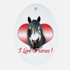 I Love Horses Oval Ornament