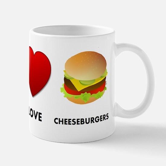 Peace Love Cheeseburgers Mug