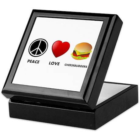 Peace Love Cheeseburgers Keepsake Box