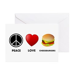Peace Love Cheeseburgers Greeting Cards (Pk of 20)