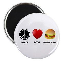 "Peace Love Cheeseburgers 2.25"" Magnet (10 pack)"