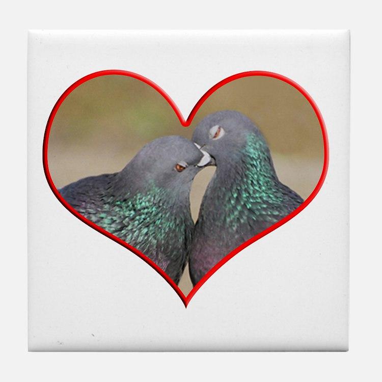 Pigeon Romance Tile Coaster