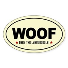 Obey the LABRADOODLE! Oval Decal