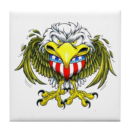 American Eagle Heart Tattoo Tile Coaster