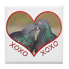 Pigeon Hugs and Kisses Tile Coaster