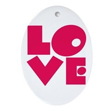 Bright Pop Art LOVE Oval Ornament