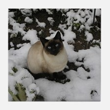 Siamese Snow Cat Tile Coaster