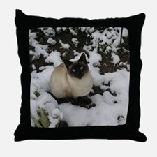 Siamese Snow Cat Throw Pillow