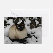 Siamese Snow Cat Greeting Card