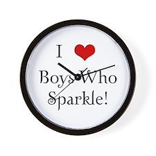I Love Boys Who Sparkle Wall Clock