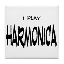 I Play Harmonica Tile Coaster