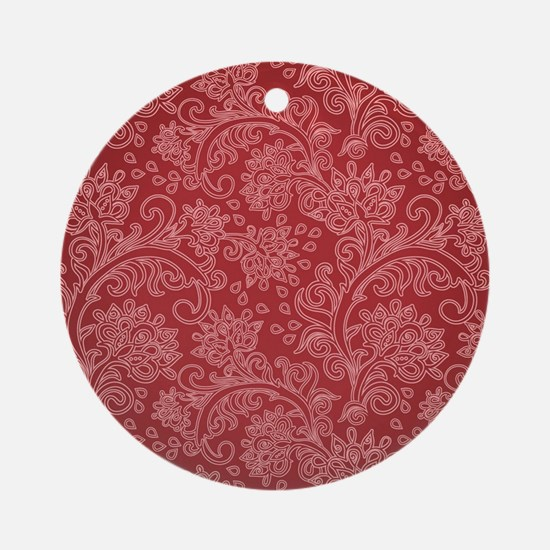 Paisley Damask Red Vintage Pattern Round Ornament