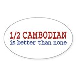 Half Cambodian Oval Sticker (10 pk)