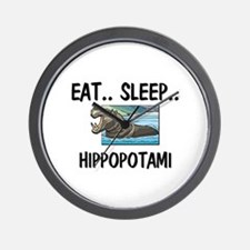 Eat ... Sleep ... HIPPOPOTAMI Wall Clock