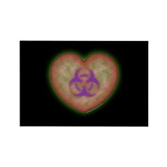 Biohazard Heart Black Rectangle Magnet (10 pack)