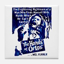 """B-Movie Poster """"Hands of Orlac"""" (blue) Tile Coaste"""
