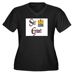Sir Grant Women's Plus Size V-Neck Dark T-Shirt