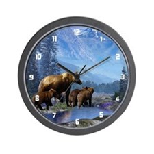 Mountain Grizzly Bears Wall Clock