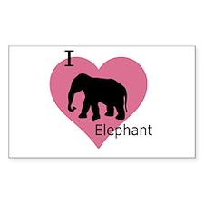 I Love Elephant Rectangle Decal