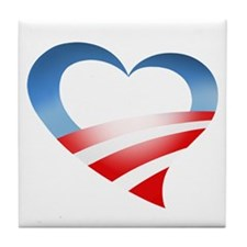 Obama Heart Logo Tile Coaster