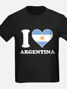 I Love Argentina Argentinian Flag Heart T-Shirt