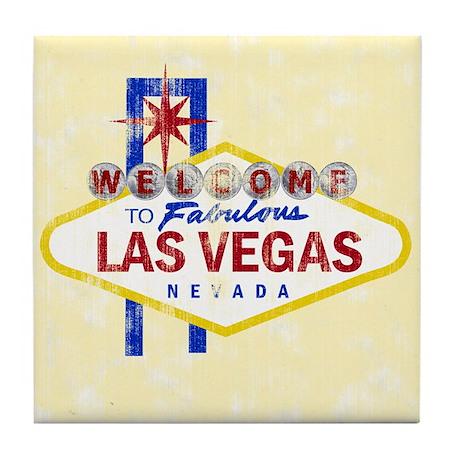 Las Vegas Sign Distressed Tile Coaster