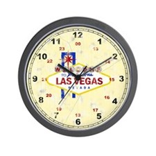 Las Vegas Sign Distressed Wall Clock