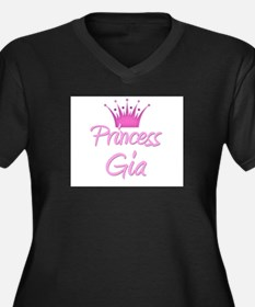 Princess Gia Women's Plus Size V-Neck Dark T-Shirt