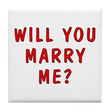 Script Will You Marry Me Tile Coaster