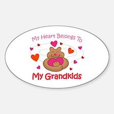 Heart Belongs To Grandkids Oval Decal