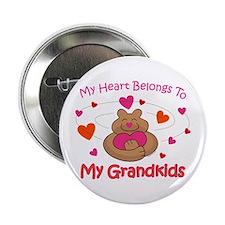 """Heart Belongs To Grandkids 2.25"""" Button"""