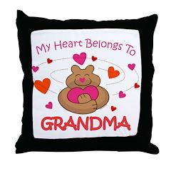 Heart Belongs To Grandma Throw Pillow