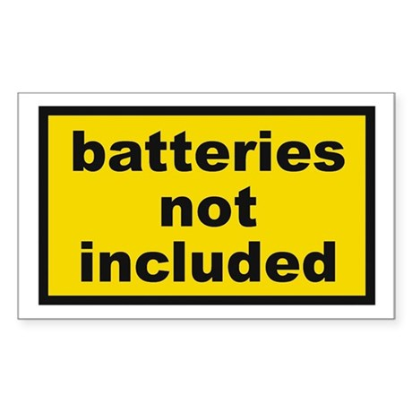 Batteries Not Included Rectangle Sticker
