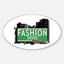 FASHION AVENUE, MANHATTAN, NYC Oval Decal
