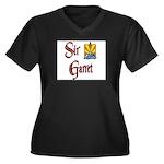 Sir Garret Women's Plus Size V-Neck Dark T-Shirt