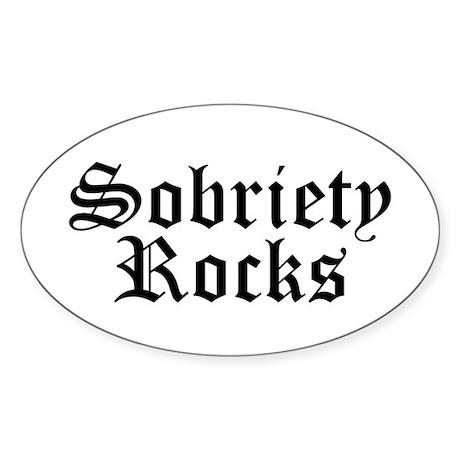 Sobriety Rocks Oval Sticker
